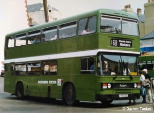 Leyland Olympian No.700 (A700DDL) is seen in service with Southern Vectis, note the Red spot next to the fleet number indicating a Ryde vehcile