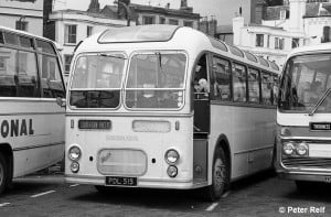 Bristol MW Coach No. 315 (PDL515) is seen in Quay Road, Ryde. On 29 June 1974.