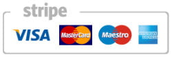 debit and credit cards accepted via Stripe